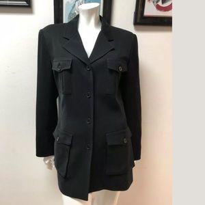 Halston Lifestyles Black 4 Pocket Safari Jacket